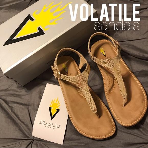 Volatile Shoes Reece Metallic Gold Snakeskin Sandals Poshmark